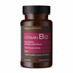 Amazon Elements Vitamin B12 Methylcobalamin 5000 mcg - Normal Energy Production and Metabolism, for $12