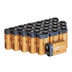 Amazon Basics 24 Pack 9 Volt Performance All-Purpose Alkaline Batteries, 5-Year Shelf Life, Easy to for $31