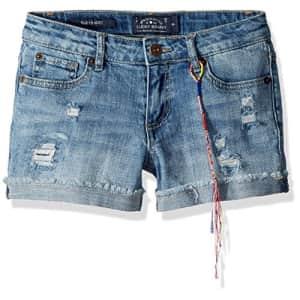 Lucky Brand Big Girls' 5-Pocket Cuffed Stretch Denim Short, Ronnie Ryder wash, 12 for $28