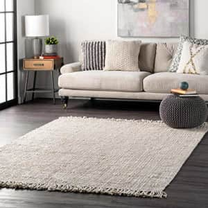 """nuLOOM Natura Collection Chunky Loop Jute Area Rug, 5' x 7' 6"""", Off-white for $95"""