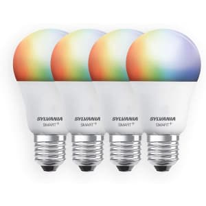 Sylvania Smart+ Wi-Fi Full Color Dimmable A19 LED Light Bulb 4-Pack for $35