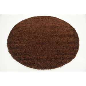 Unique Loom Solo Solid Shag Collection Modern Plush Chocolate Brown Round Rug (6' 0 x 6' 0) for $59