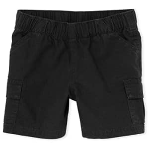 The Children's Place Baby Boys and Toddler Boys Pull On Cargo Shorts, Black, 2T for $6