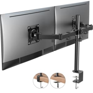 """Dual Monitor Arm Desk Mount for 13""""-27"""" Screens for $32"""