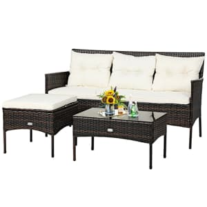 Costway 3-Piece Patio Furniture Sectional Set for $235