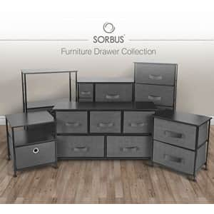 Sorbus Nightstand with 3 Drawers - Bedside Furniture & Accent End Table Storage Tower for Home, for $65