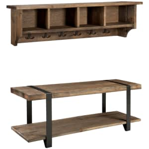 Alaterre Furniture Modesto Reclaimed Wood and Metal Wall Storage Hook and Bench Set for $355