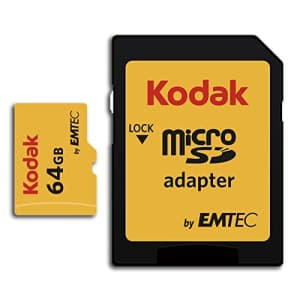 Kodak 64GB Class 10 UHS-I U1 microSDHC Card with Adapter for $15