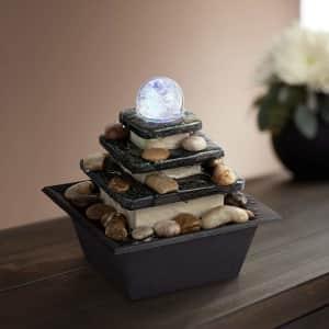 "John Timberland Lighting Rolling Ball 7"" High Three Tier Tabletop Zen Fountain for $30"