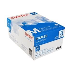 Staples Multiuse Copy Paper 8-Ream Case for $25