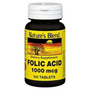 Swanson Nature's Blend Folic Acid 1000 mcg 100 Tablets for $10