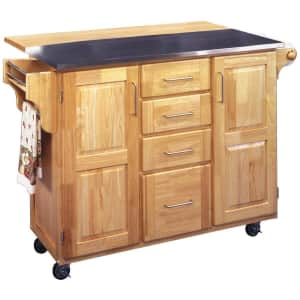 Home Styles General Line Stainless Steel-Top Kitchen Cart w/ Breakfast Bar for $405