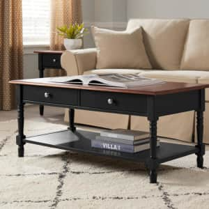 """StyleWell Trentwick 44"""" 2-Drawer Solid Wood Coffee Table for $94"""