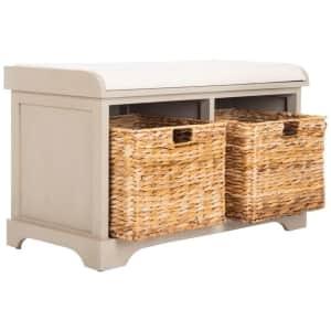 Safavieh Freddy Cushioned Solid Wood Storage Bench w/ 2 Bins for $137...or less