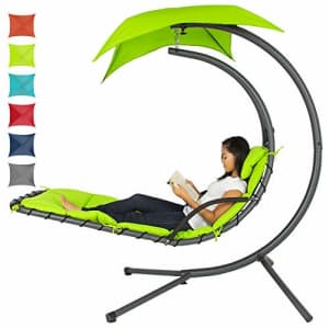 Best Choice Products Outdoor Hanging Curved Chaise Lounge Chair Swing for Backyard, Patio w/ for $252