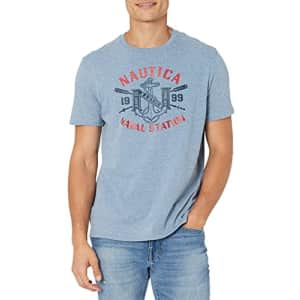 Nautica Jeans Co. Men's Naval Station Graphic T-Shirt, Deep Anchor Heather, Large for $25