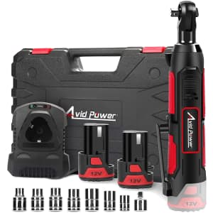 Avid Cordless Electric Ratchet Wrench w/ 2 Batteries for $47