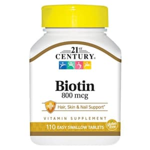 21st Century Biotin Tablets, 800 mcg, 110 Count (Pack of 3) for $6