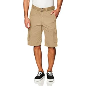 Southpole Men's Belted Ripstop Basic Cargo Shorts, Khaki/New, 29 for $20