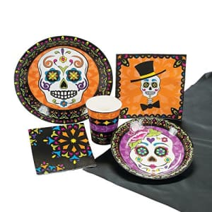 Fun Express Day of the Dead Party Kit Tableware for 8 Guests (57 total pieces) Halloween Dia de Muertos Party for $13