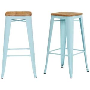 """StyleWell Finwick 30"""" Metal Bar Stool w/ Wood Seat 2-Pack for $65"""