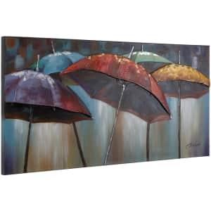 """Yosemite Home Decor """"Umbrellas"""" 28"""" x 55"""" Canvas Wall Art for $112"""