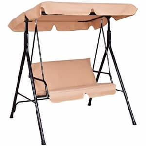 Tangkula 2 Person Canopy Swing,Weather Resistant Porch Garden Backyard Lawn Loveseat Swing Chair for $108