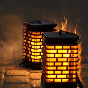 Outdoor Solar Flame Effect Hanging Lantern 2-Pack for $25