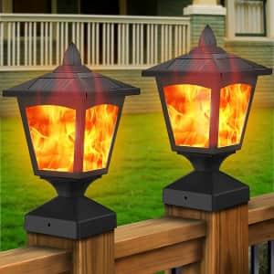 Henre LED Solar Flame Post Lights 2-Pack for $37