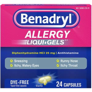 Benadryl Liqui-Gels Antihistamine Allergy Medicine & Cold Relief 24-Count Box for $3