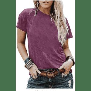 Huange Women's Crew Neck T-Shirt for $12