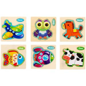 LQRLY Wooden Animal Jigsaw Puzzles for $5