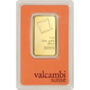 Valcambi Suisse 1-oz. Gold Bar w/ Assay Card for $1,817