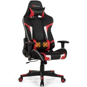 GoPlus Reclining Gaming Chair w/ Lumbar Massage for $148