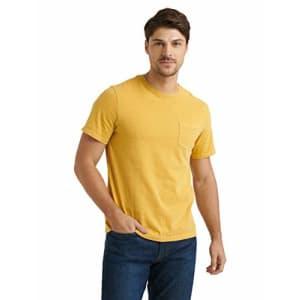 Lucky Brand Men's Short Sleeve Crew Neck Sunset Pocket Tee Shirt, Ochre, XL for $30