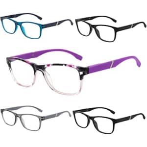 Tismac Unisex Blue Light Reading Glasses 5-Pack for $9