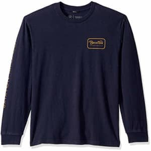 Brixton Men's Grade IV Standard FIT Long Sleeve T-Shirt, Washed Navy, XS for $30