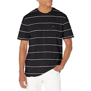 Tommy Hilfiger Men's Short Sleeve Graphic T Shirt, Jet Black PT/Bright White PT, X-Large for $34
