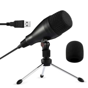 Moukey USB Microphone w/ Tripod Stand for $11