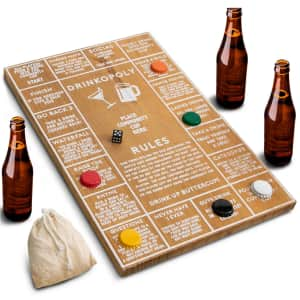 Hammer + Axe Drinkopoly Wood Board Game for $8