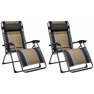 Amazon Basics Padded Zero Gravity Patio Chair - Black, 2-Pack for $193