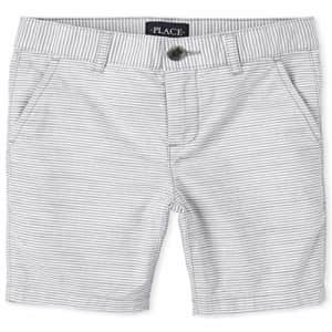 The Children's Place Boys Striped Chino Shorts, FIN Gray, 10 for $15