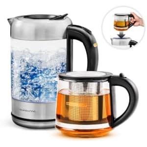 Ovente 1.7-Liter Glass Electric Kettle + 27-oz. Infuser Tea Kettle for $37