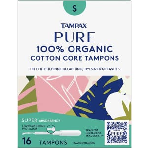 Tampax Pure Tampons Super Absorbency 48-Count for $8