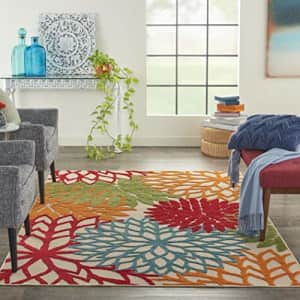 """Nourison Aloha ALH05 Indoor/Outdoor Floral Green 5'3"""" x 7'5"""" Area Rug (5'x8') for $63"""