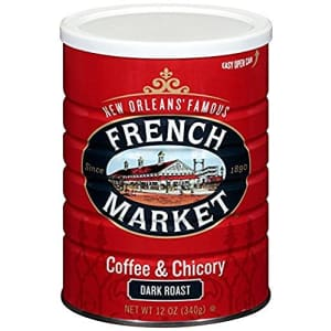 French Market Coffee, Coffee and Chicory, Dark Roast Ground Coffee, 12 Ounce Metal Can for $16