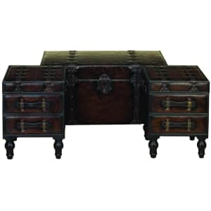 Litton Lane 3-Piece Storage Trunk Coffee Table / Side Table Set for $354