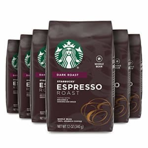 Starbucks Dark Roast Whole Bean Coffee Espresso Roast 100% Arabica 6 bags (12 oz. each) for $42