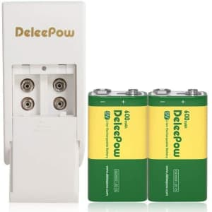 Deleepow 9V Rechargeable Battery 2-Pack with Charger for $8