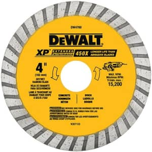 DEWALT DW4700 Industrial 4-Inch Dry or Wet Cutting Continuous Rim Diamond Saw Blade with 7/8-Inch for $18